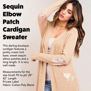 Cardigan Sweater with Sequin Elbow Patch